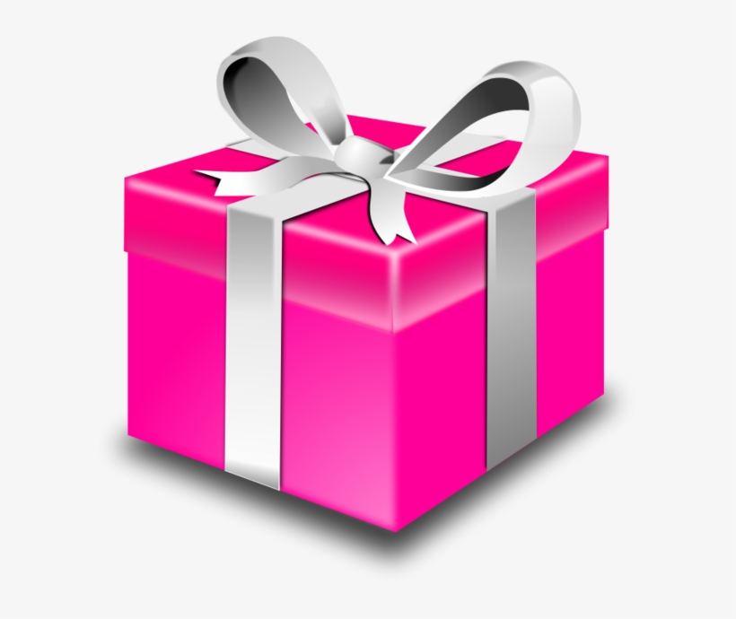 Present Or A Gift Wrapped Box Vector Clip - Pink Gift Box ...