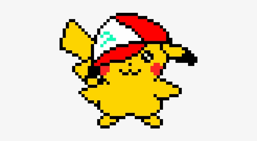 Pikachu With Ashs Hat Cute Pikachu Pixel Art Transparent