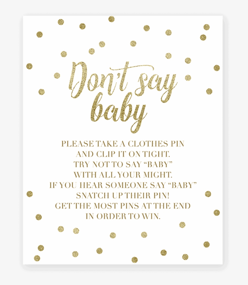 image relating to Free Don't Say Baby Printable identify Put on T Say Kid Clothespin Match With Gold Confetti Printable