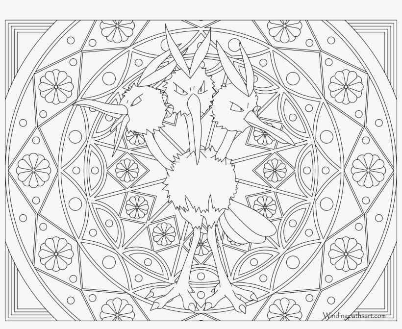 085 Dodrio Pokemon Coloring Page Mandalas Para Colorear De