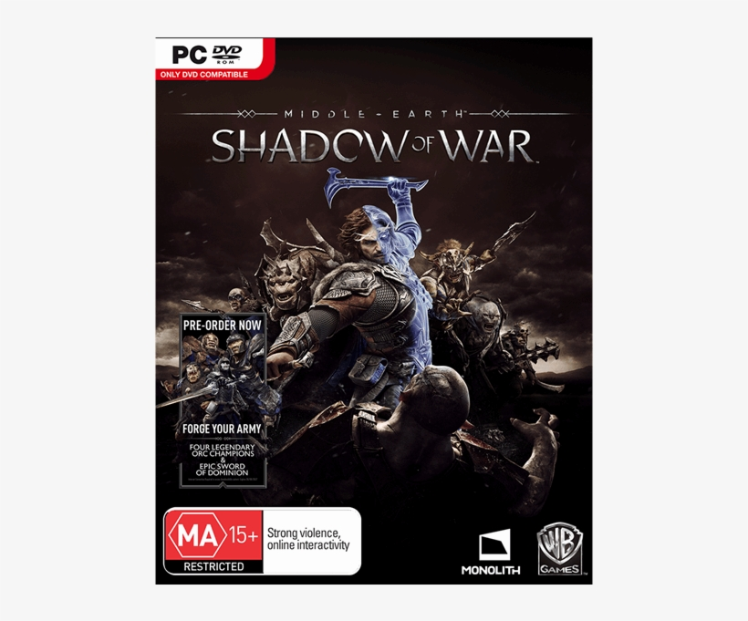 1 Of Middle Earth Shadow Of War Pc Dvd Cover Transparent Png 600x600 Free Download On Nicepng