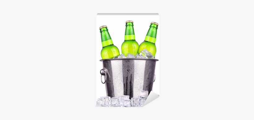 Beer Bottles In Ice Bucket Isolated Wall Mural Pixers Beer