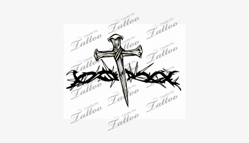 Marketplace Tattoo Nail Cross With Thorn Vine Cross Armband Tattoo
