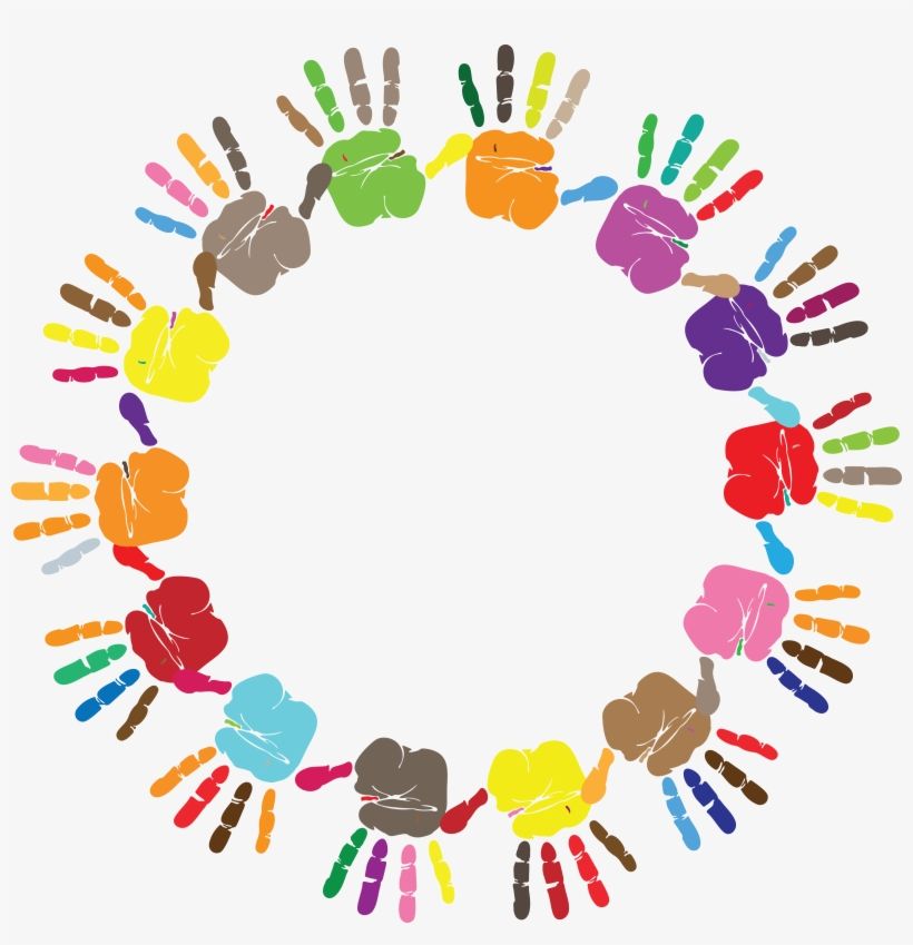 Free Clipart Of A Round Frame Of Handprints In Color ...