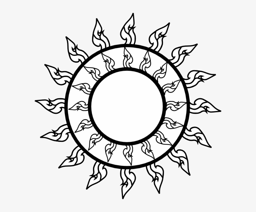 Free Sun Clipart Black And White Png Thai Art Png Transparent