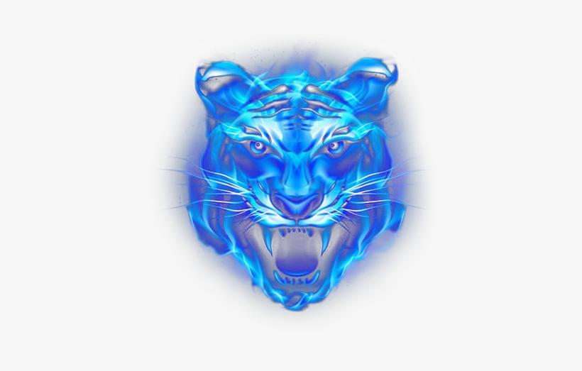 Lion Blue Fire Water Metallic Neon Light - Fire Lion Light