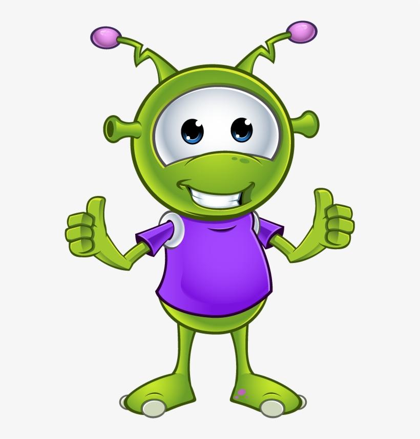 Little Green Alien Two Thumbs Up - Cute Alien Cartoon Transparent ...