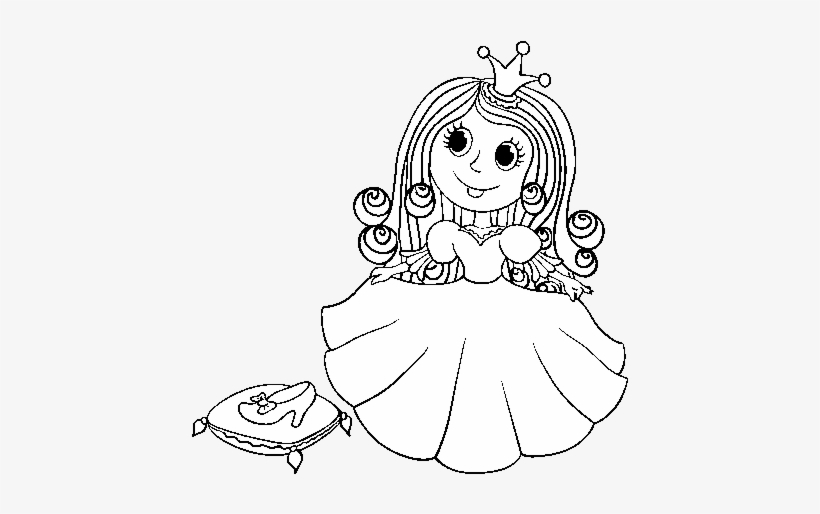 Princess And Glass Slipper Coloring Page Desenho De Princesa