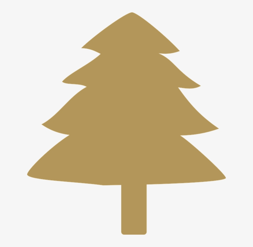 Silhouettes Of Green Pine Tree Vector Illustration Gold Christmas