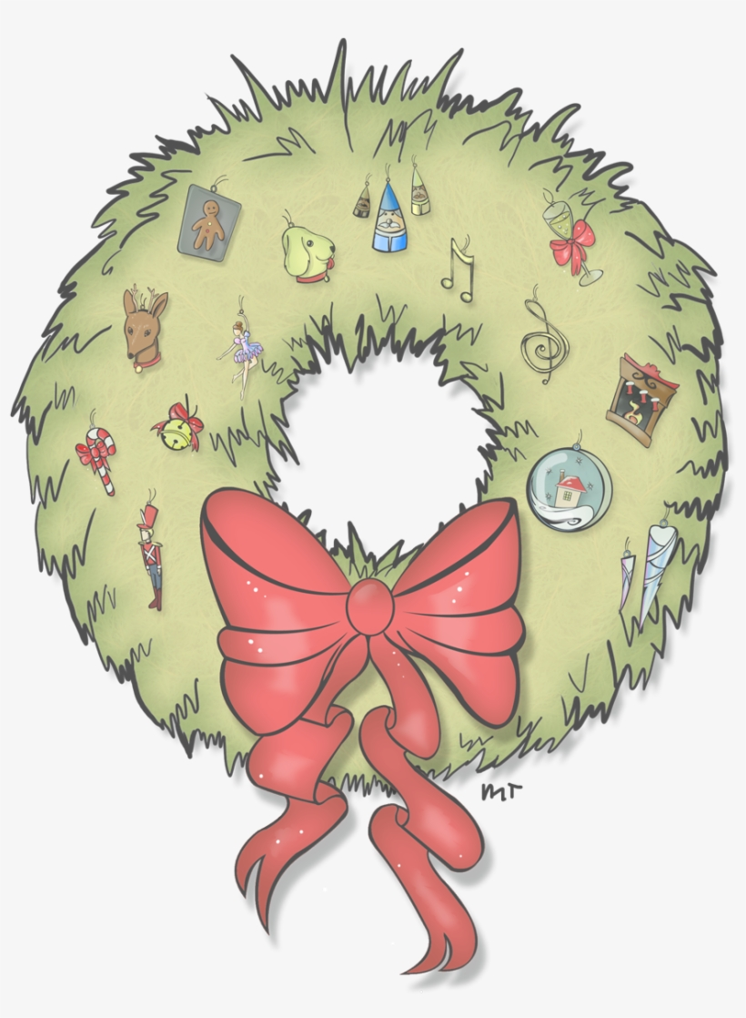 Here Is A Transparent Version Of My Holiday Wreath Illustration Transparent Png 927x1200 Free Download On Nicepng