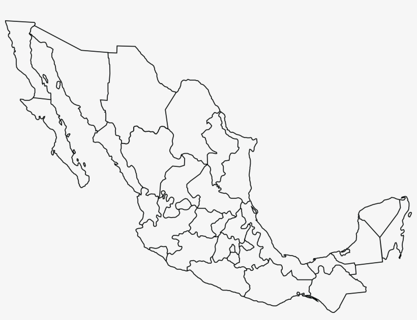 Free Clipart Of A Black And White Map Of Mexico - Blank Map ...