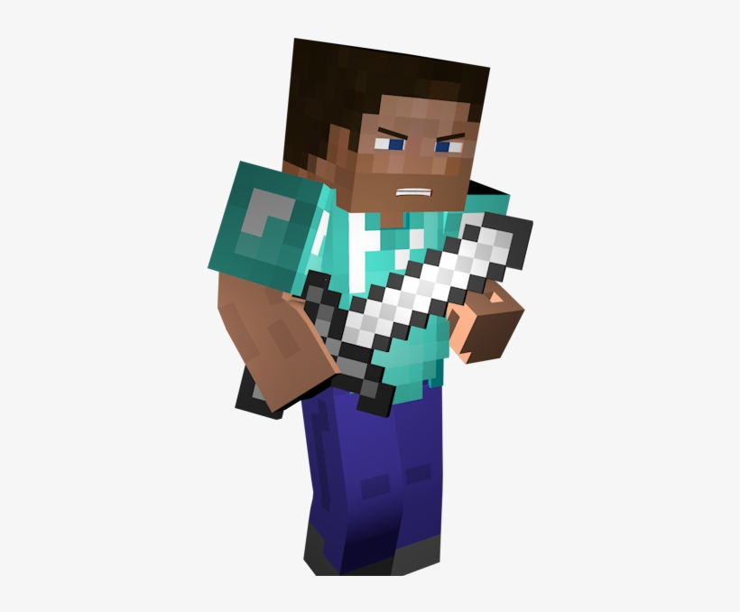 Super11 Minecraft Steve With Iron Sword Transparent Png 800x600