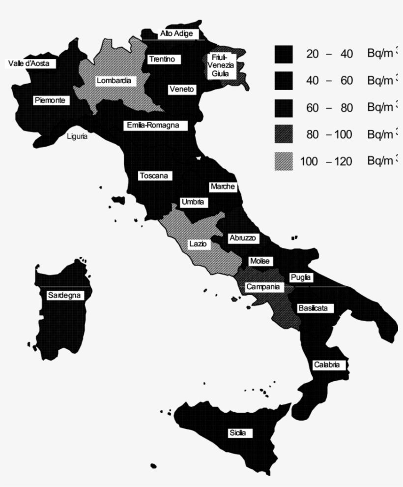 Map Of Average Annual Radon Concentration In All The - Italy