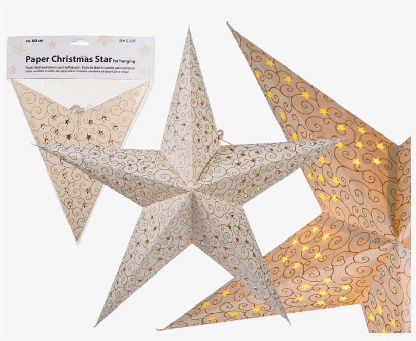 Ivory Coloured Paper Christmas Star With Golden Coloured