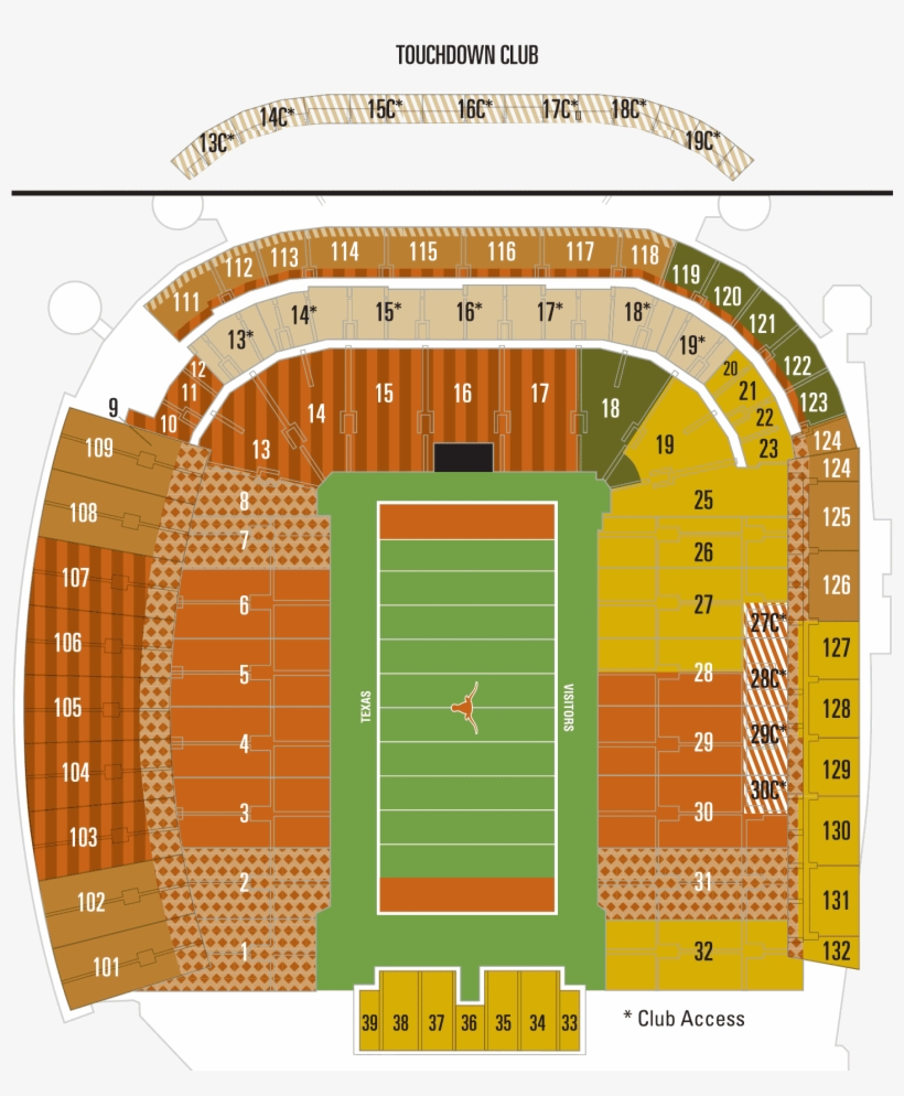 Darrell Royal Stadium Seating Chart Seat Numbers Also Texas