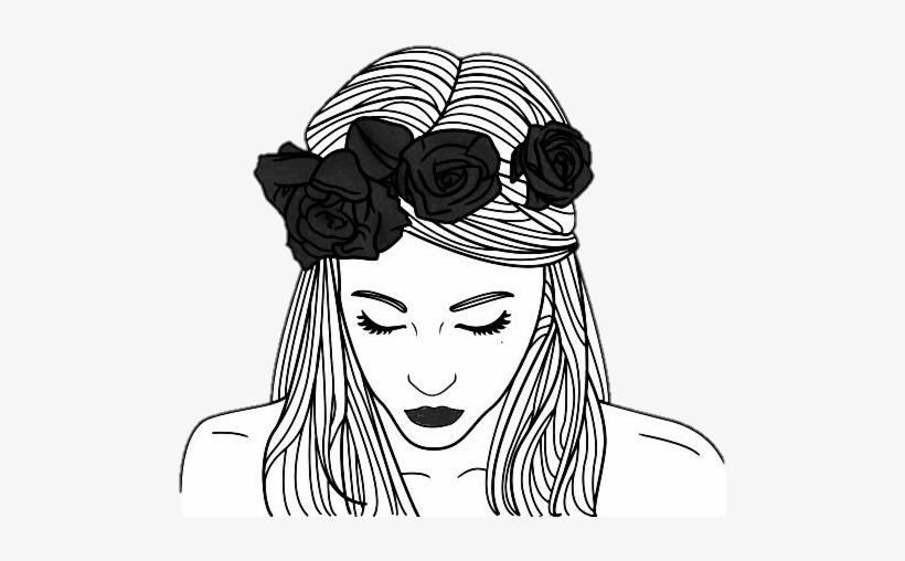 Tumblr Tumblrgirl Outlines Chicas Girls Girl Outline Flower Crown