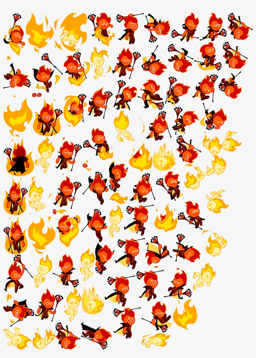 Fire Spirit Sprites 2 Cookie Run Sprite Sheet Transparent Png