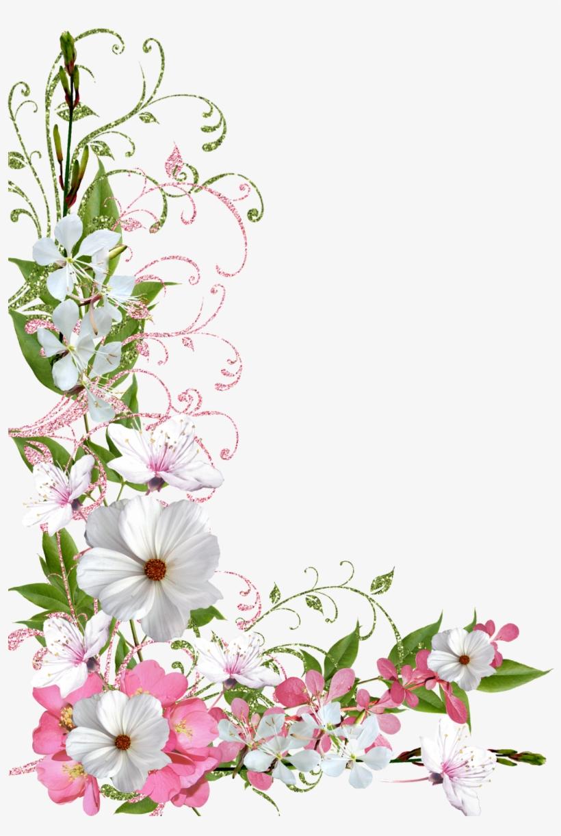 Flower Border Clipart Flower Frame Pink And Green Pastel
