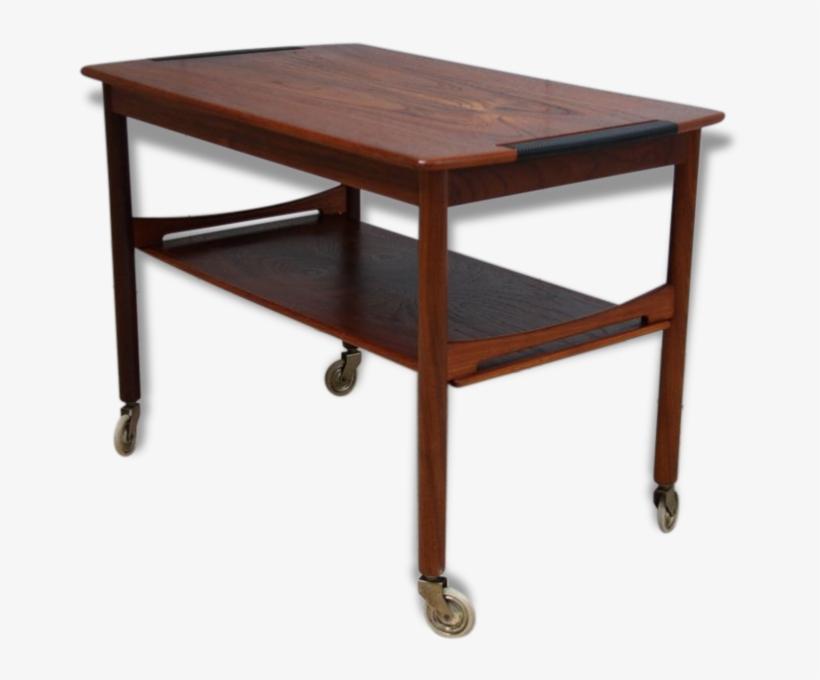 Vintage Coffee Tea Table On Wheels With Storage