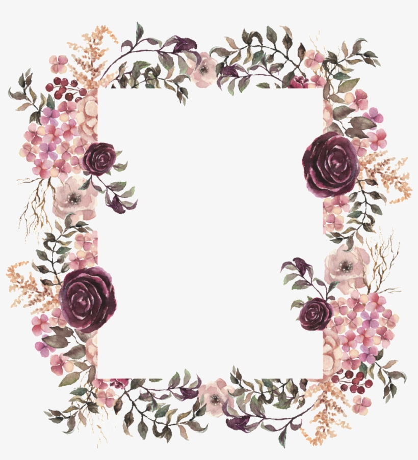Geometric Figure Flower Frame Transparent Floral Burgundy Boho