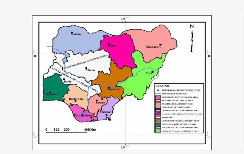 Map Of Nigeria Showing The Upper And Lower Niger River - Niger River ...