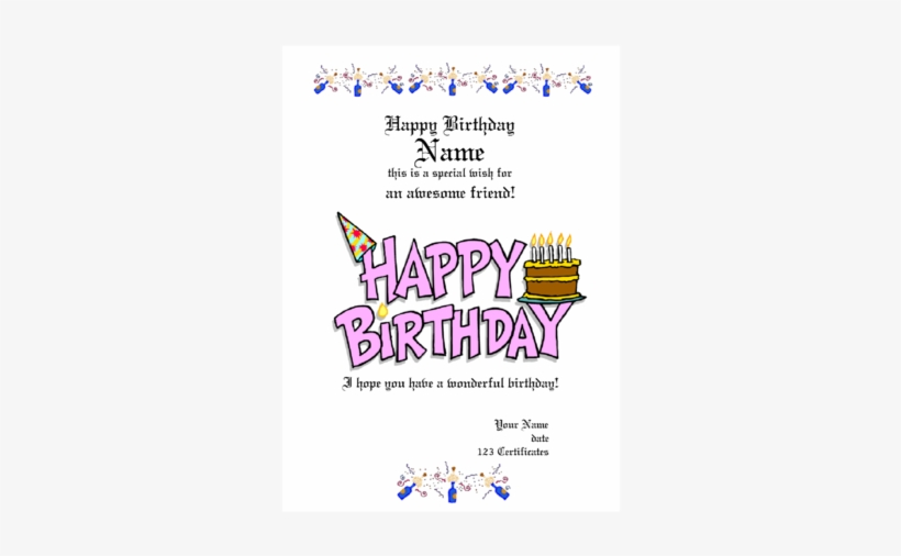 Birthday Gift Certificate Template Free Printable Happy Birthday Transparent Png 339x480 Free Download On Nicepng