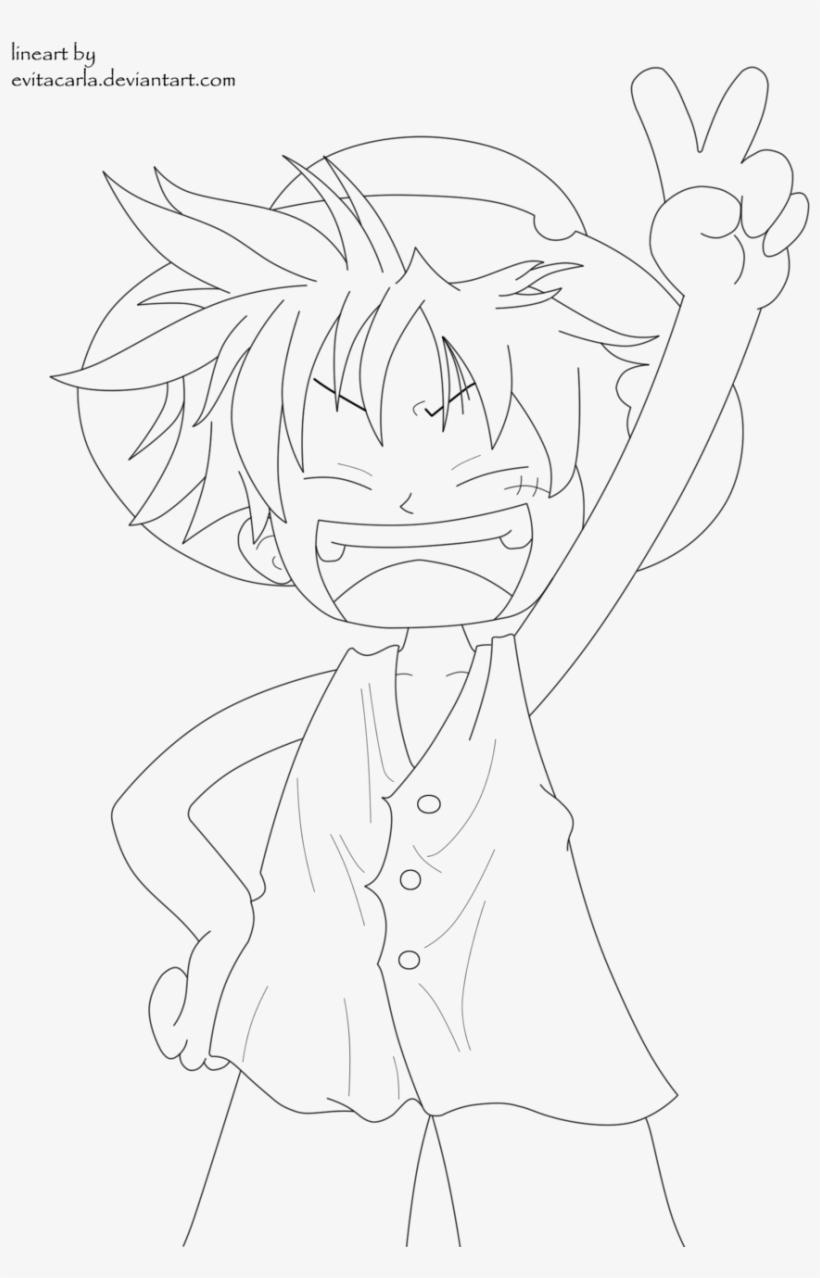 One Piece Fan Art Chibi Luffy Lineart One Piece By Line