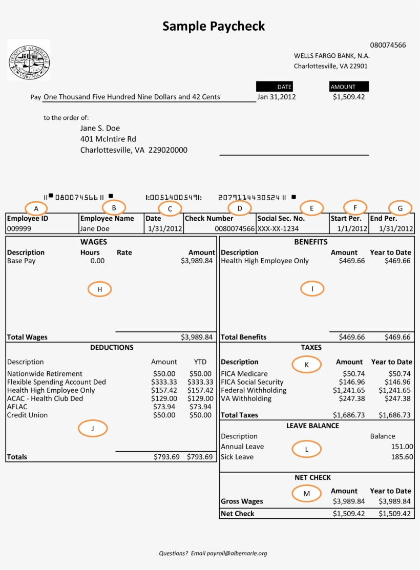 Wells Fargo Bank Payroll Check Main Image - View Direct
