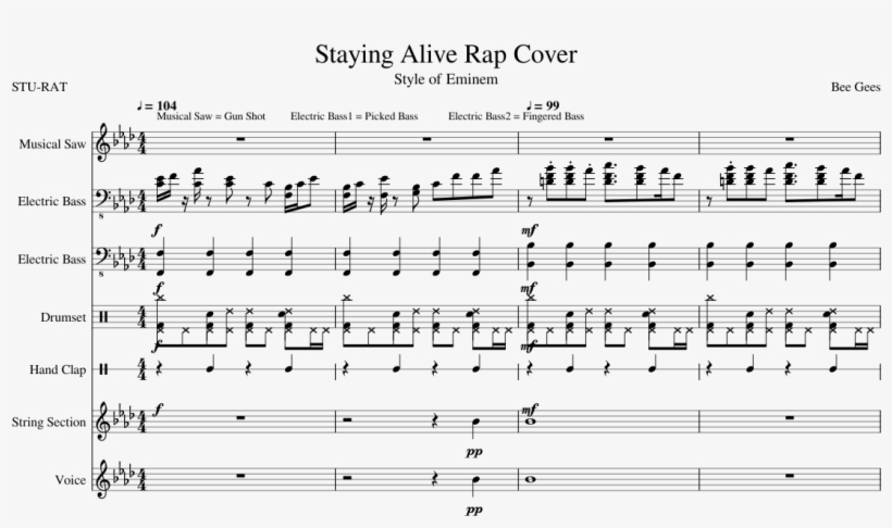 Staying Alive Rap Cover Sheet Music Composed By Bee - Bee