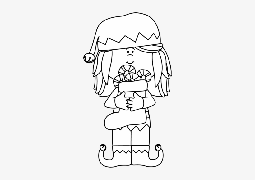 Elf Png Black And White Christmas Cute Clipart Black And White Free Transparent Png 284x500 Free Download On Nicepng