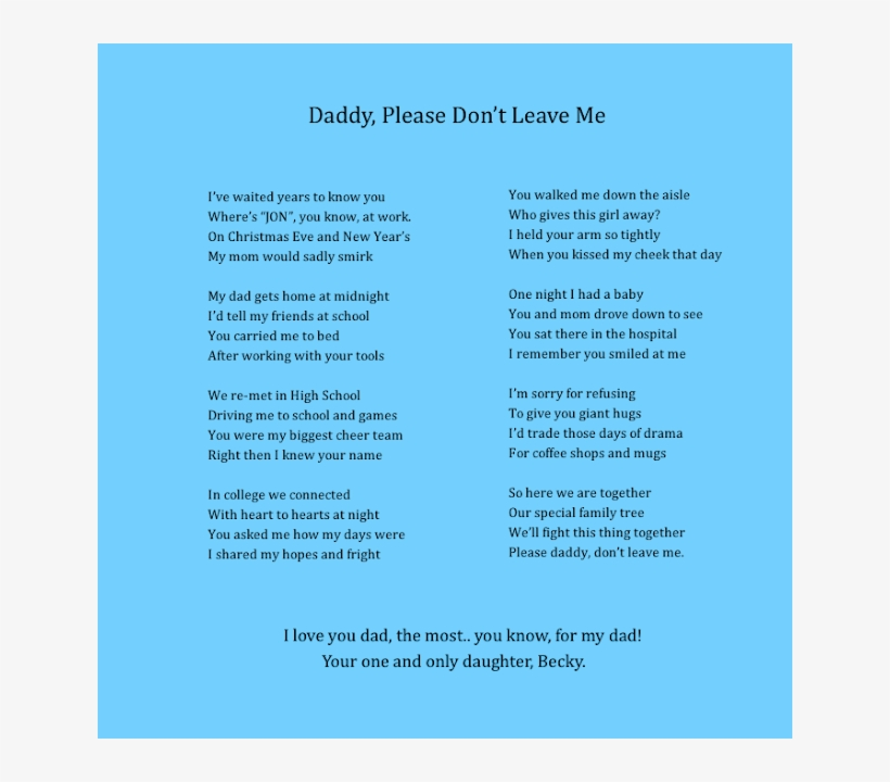 Daddy Please Don't Leave Me - Poems About Dads Leaving Their