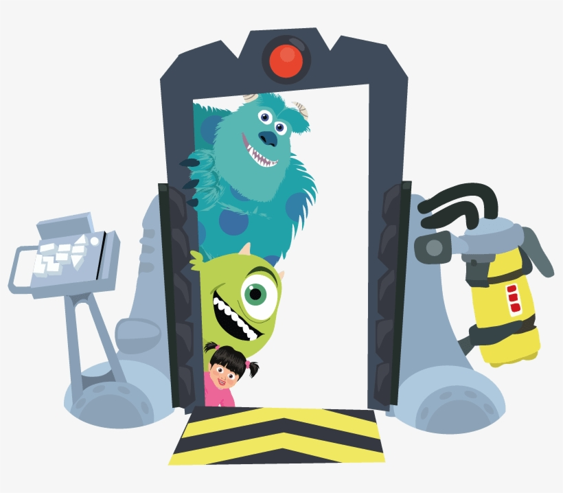 Illustration Of Sulley Mike And Boo On The Boo S Door Monsters Inc Transparent Png 797x638 Free Download On Nicepng