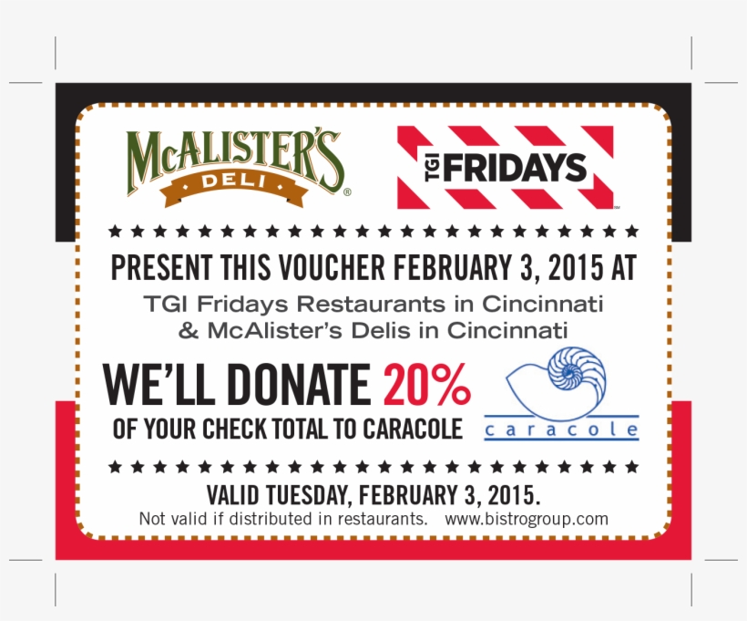 picture about Mcalister's Coupons Printable named Mcalister S Deli Tgi Fridays - Mcalisters Deli Clear