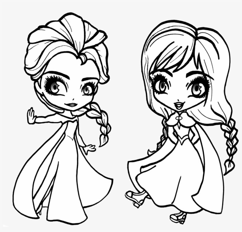 Chibi Anna And Elsa From Frozen Baby Elsa Coloring Pages