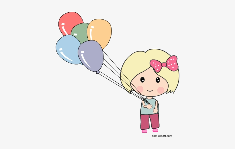 Cute Girl Holding Colorful Balloons Boy With Balloons Clipart