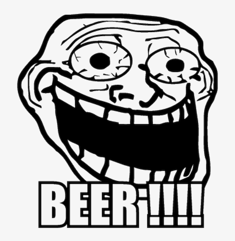 Troll Face Meme Crazy Beer T Shirt Funny Troll Face Transparent
