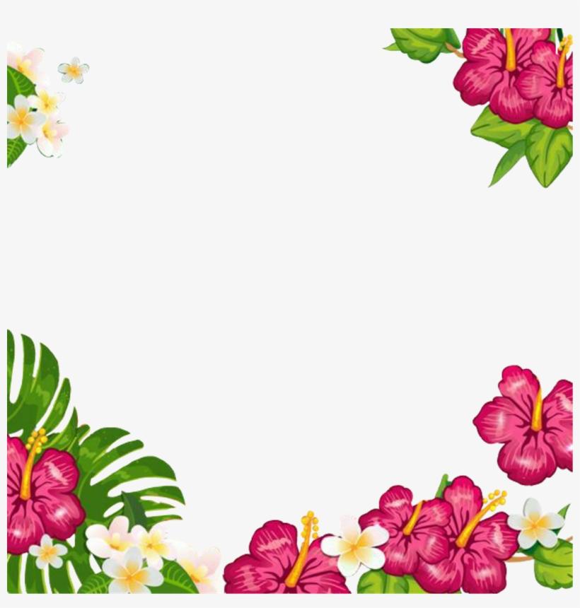 Summertime Summerfun Tropical Flowers Frame Picturefram Convite