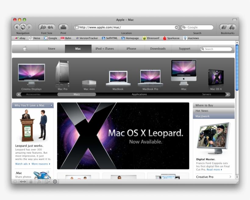Browser Fenster, Tabs - Mac Os X Leopard - 1 User