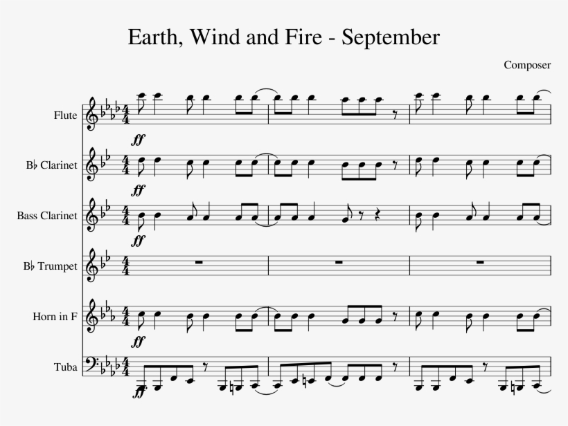 Earth Wind And Fire September Clarinet Sheet Music