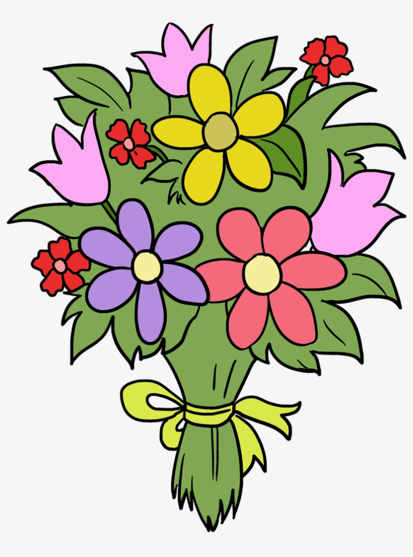 Easy Drawing Guides On Twitter Drawing A Beautiful Bunch Of Flowers Drawing Easy Transparent Png 848x1200 Free Download On Nicepng