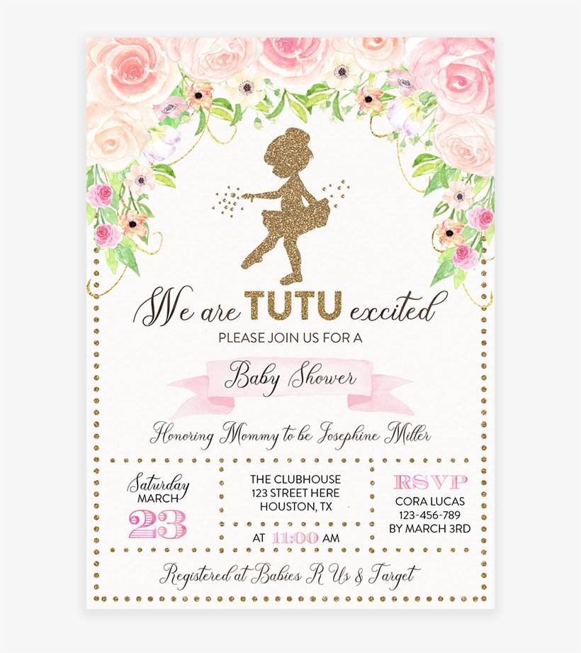Pink And Gold Floral Tutu Ballerina Baby Shower Invitation Ballerina Baby Shower Invite Transparent Png 819x1024 Free Download On Nicepng