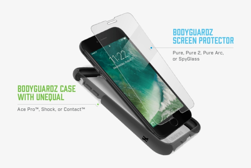 770f7f80fd0d91 Free Shipping On Replacement When A Pure, Pure 2, Pure - Bodyguardz Pure 2  Clear Iphone 7 Screen Protector