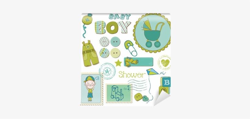 carte de naissance à imprimer Scrapbook Baby Shower Boy Set   Carte Felicitations De Naissance A