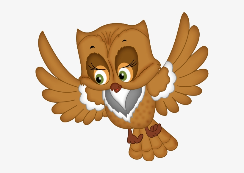 Owl flying. Cartoon image transparent clipart