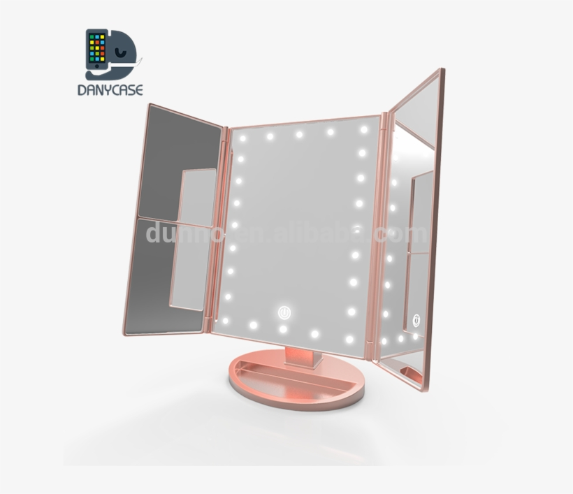 Danycase Trifold Led Lighted Makeup Vanity Mirror With Lampshade
