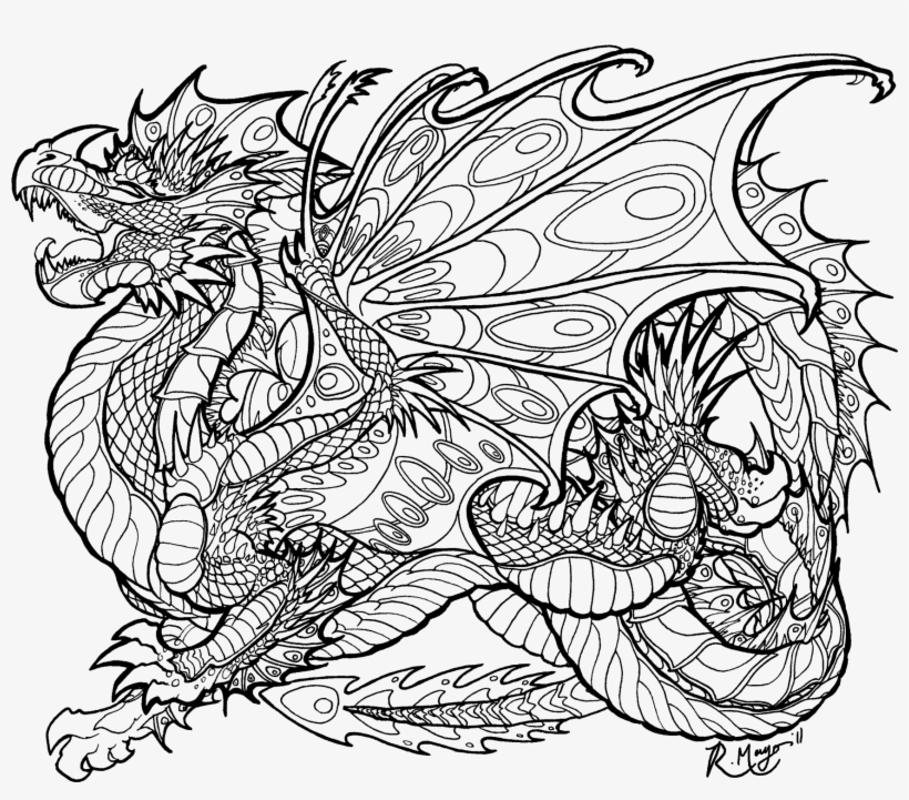 Coloring Pages For Adults Difficult Dragons Gallery Mythical