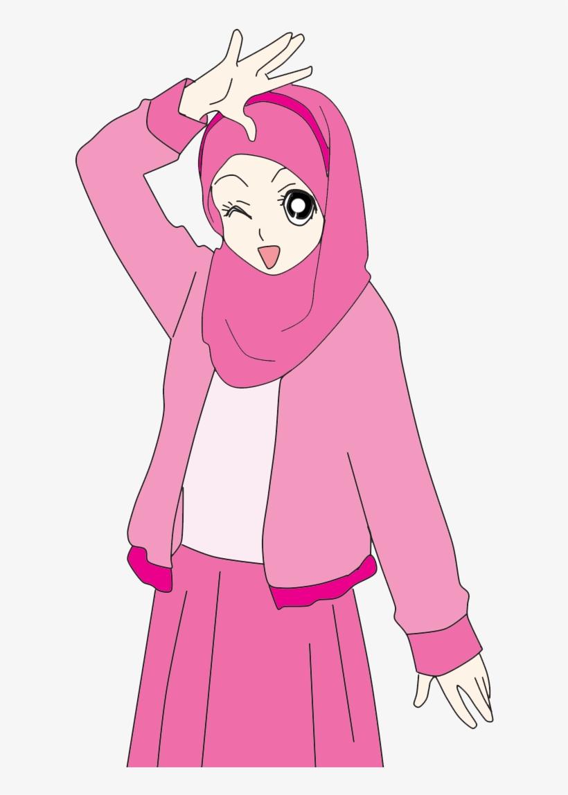 Cute muslimah doodle cartoon muslimah