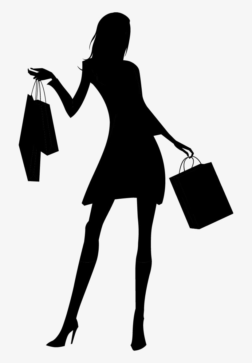 Fashion girl silhouette png shopping woman silhouette png