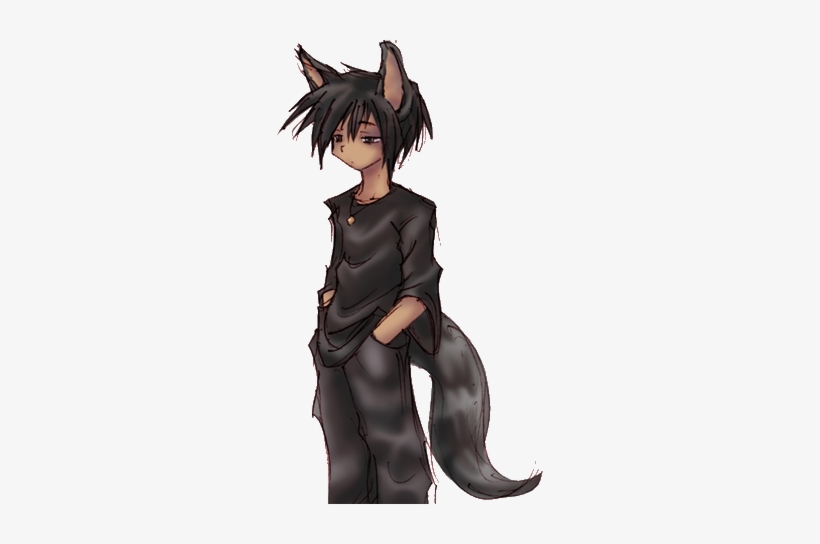 Anime Boy With Cat Ears And Tail Anime Boy With Black And Red Wolf