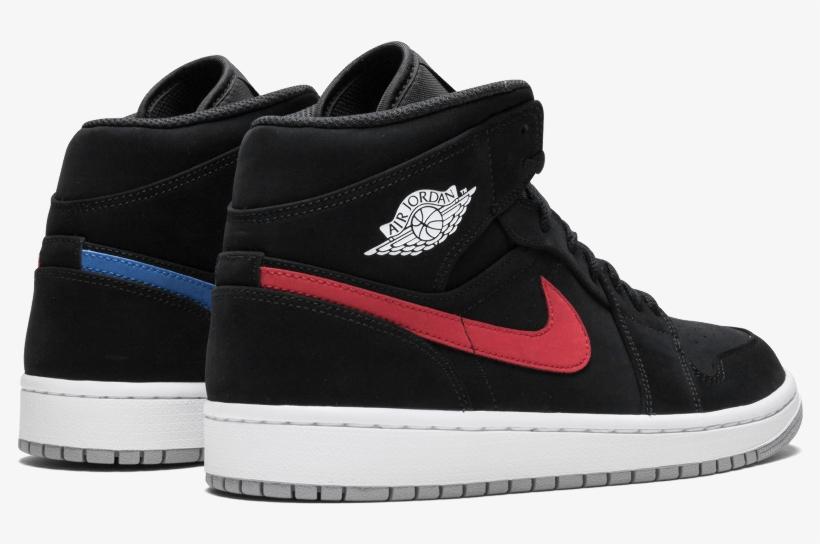 ec2328a3fe4 Nike Air Red Jordan 1 Mid Black Nubuck Red Air Blue - Jordan 1 Mid Blue And  Red Swoosh
